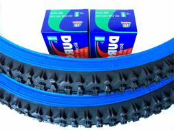 1 PAIR 26X2.10 MOUNTAIN BICYCLE TIRES PLUS 2 TUBES - BLUE WA