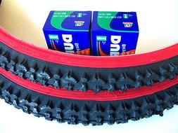 1 PAIR 26X2.10 MOUNTAIN BICYCLE TIRES PLUS 2 TUBES - RED WAL
