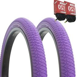 "1PAIR! Bicycle Bike Tires & Tubes 20"" x 1.95"" Purple/Purple"