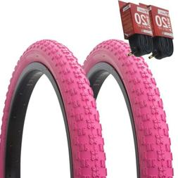 "1PAIR! Bicycle Bike Tires & Tubes 20"" x 2.125"" Pink/Pink Sid"