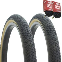 "1PAIR! Bicycle Bike Tires & Tubes 20"" x 1.95"" Black/Gum Side"
