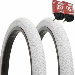 "1PAIR! Bicycle Bike Tires & Tubes 20"" x 1.95"" White/White Si"