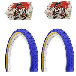 "1PAIR! Duro Bicycle Bike Tires & Tubes 20"" x 2.125"" Blue/Gum"