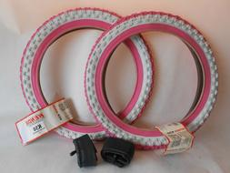 "2- 16"" Girl's Bike Tires & Tubes Pink/White 16 x 2.125/ 1.75"