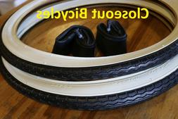 """2 BICYCLE TIRES/TUBES 20"""" x 1.75""""  WHITE WALL LOWRIDER CRUIS"""