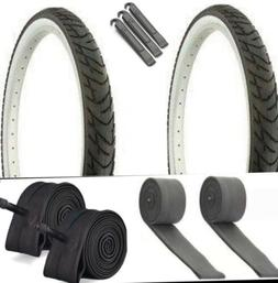 2 BLACK 26x2.125 BEACH CRUISER BIKE SMALL BRICK TIRES/ TUBES