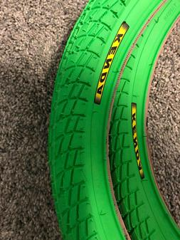2- GREEN KENDA KONTACT 20X 1.95 TIRES RACING BICYCLE BMX TRI