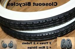 "2 NEW 16"" X 1.75"" DURO White Wall BICYCLE TIRES/Tubes/Strips"