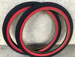 2 TIRES 20X1.95 BMX FREESTYLE BICYCLE DURO BIKE TIRE - RED W