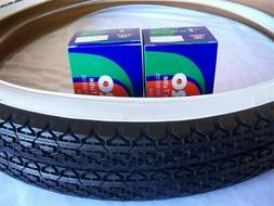 "2 DURO White Wall Tires Tubes + RIM STRIPS 26"" x 2.125"" Crui"