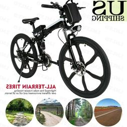 "26"" Electric Fat Tire Bike City Mountain Bicycle w Removable"