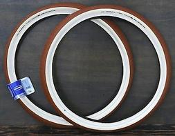 """26""""x2.35 Red Brown FF Cream Whitewall Cruiser Bicycle Tires"""