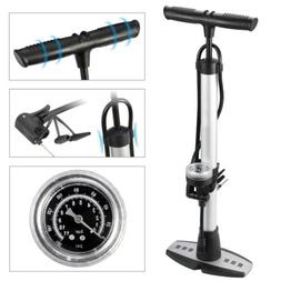 Bicycle Floor Pump Bike Air Gauge Presta Schrader Tire W/360