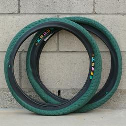 """ECLAT BMX BIKE TY MORROW 20 X 2.40"""" BICYCLE TIRES FOREST GRE"""