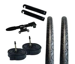 Zol Bundle 2 Pack Road Tires, 2 Bike Tubes 700x28C Presta/Fr