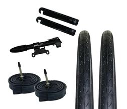 Zol Bundle 2 Pack Z1179 Road Tires, 2 Bike Tubes 700x23C Pre