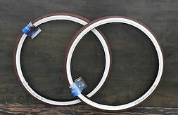 "700x50 D Brown Cream White 29er FF Bicycle TIRES 28"" Vintage"
