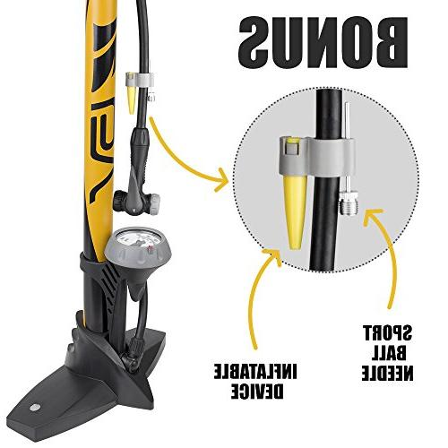 BV Bicycle Ergonomic Floor Pump with & 160 psi, Reversible Presta