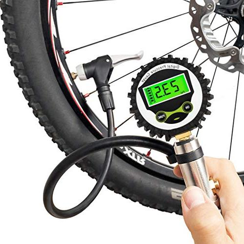 CycloSpirit Digital Bicycle Tire Inflator Gauge - Air Compre