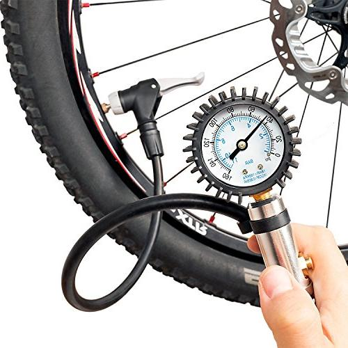 CycloSpirit Bicycle Tire Inflator Gauge - Air Compressor Too