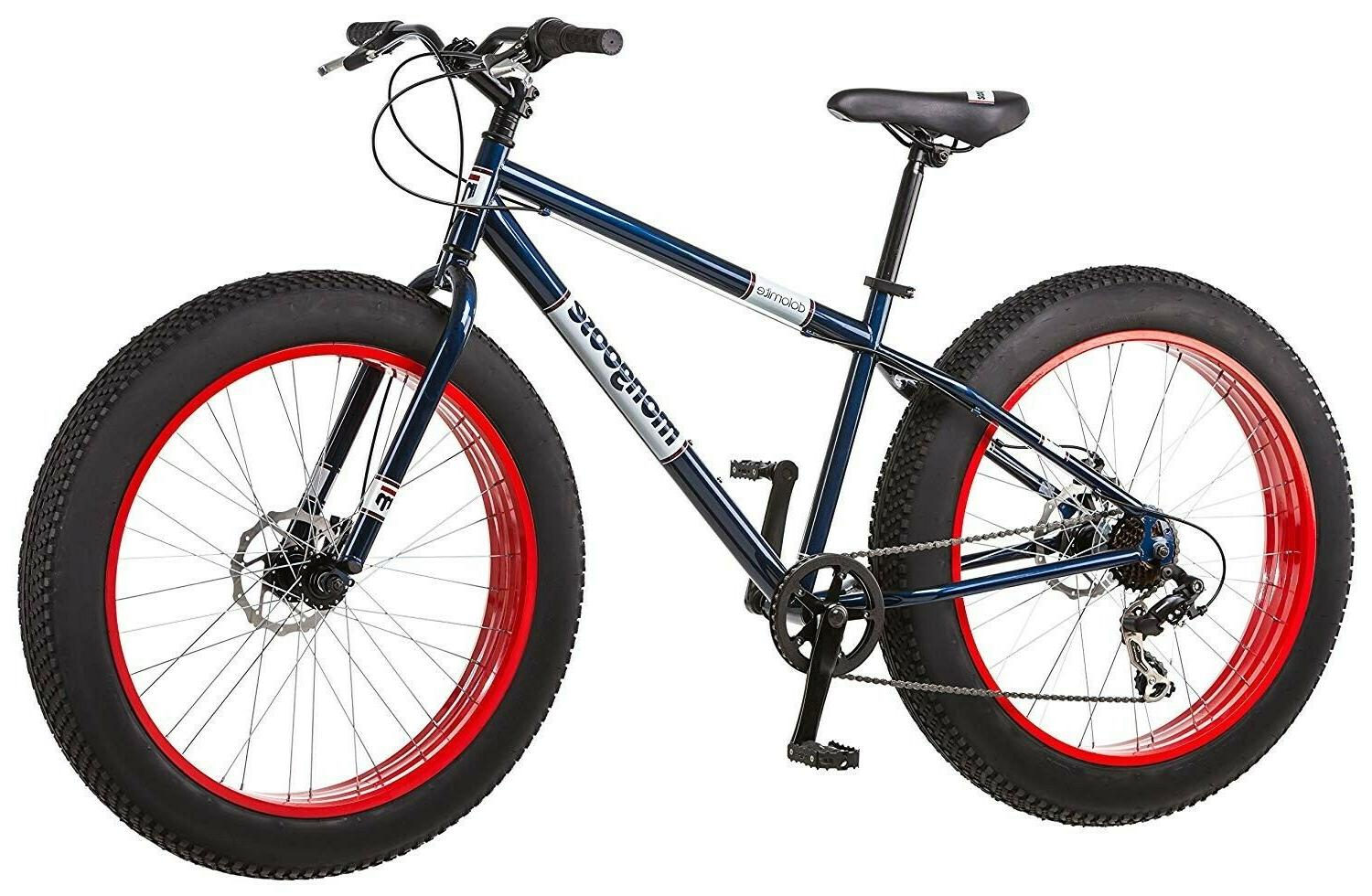 Mongoose Mountain Bike Mens 7-Speed Fat Tire Navy Blue Red 2