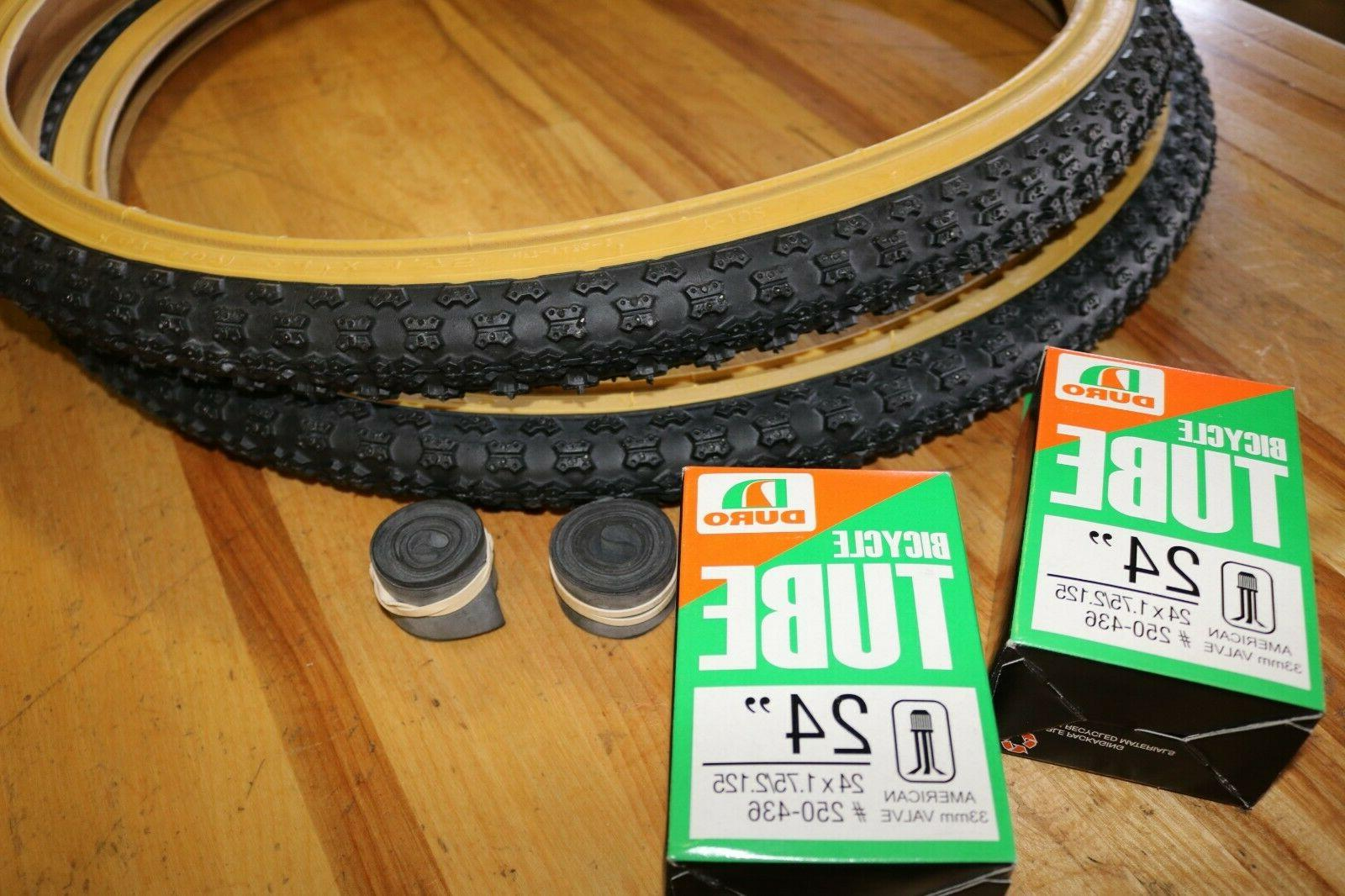 Pair DURO 24 Tires/Tubes BMX White or