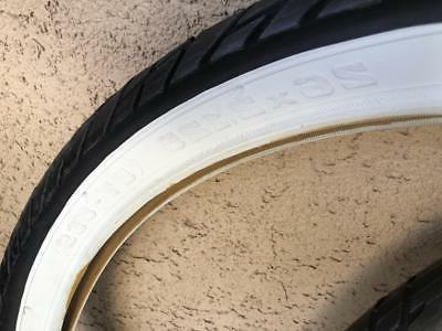 Pair White Wall 26x2.125 Cruiser Bike Tires