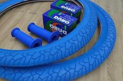 "New PAIR of 20"" BMX Bicycle Slick BLUE Street Tires & Tubes"