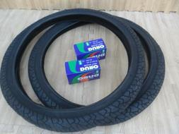 "New PAIR of 20"" BMX Bicycle Slick BLACK Street Tires & Tubes"