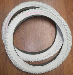 PAIR MONGOOSE 18 X 2.10 WHITE BICYCLE TIRES BIKE PARTS TR013