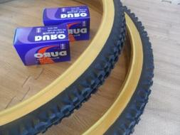Pair of Duro 26x2.10 Gum Wall Mountain Bicycle Tires with Tw