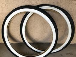 Pair of DURO Black White Wall 26x2.125 Beach Cruiser Bike Bi