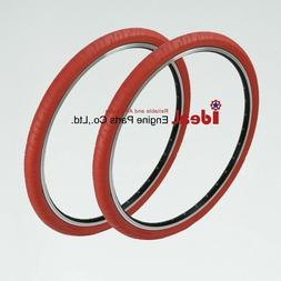 Pair Road Bicycle Solid Tires 700X24C Red Puncture Free Tube