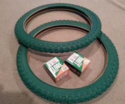 TWO DURO 20X2.125 BMX BICYCLE TIRES GREEN COMP 3 MX3 STYLE &