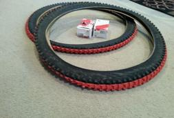 TWO DURO 26X2.10 MOUNTAIN BIKE TIRES RED CENTERS & 2 TUBES