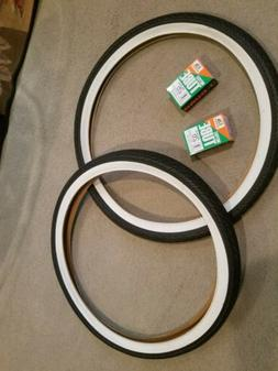 TWO DURO 26X2.125 BEACH CRUISER BICYCLE TIRES WHITEWALLS & T