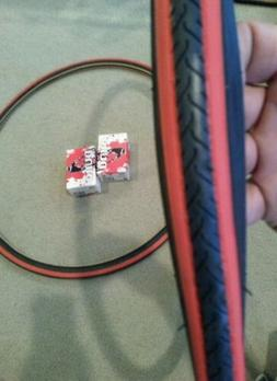 TWO DURO 700x25C DOUBLE  RED LINED BICYCLE TIRES + Tubes Roa