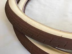 Two 2 CREAM - BROWN Tan 26x2.35 Bicycle Fat Tires Slick Chop