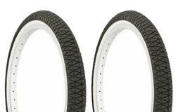 "Two 2 Tires 20 x 1.95"" BMX BIKE BICYCLE DURO TIREs Black/Whi"