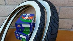 Two 24x2.125 Beach Cruiser WhiteWall Bicycle Tires & Inner t