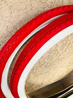 Two RED White Wall Beach Cruiser 26x2.125 Bicycle Tires Slic