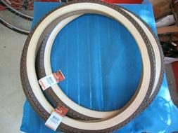 """Vintage Bicycle Tire Style Goodyear Tread in Brown/Creme 26"""""""